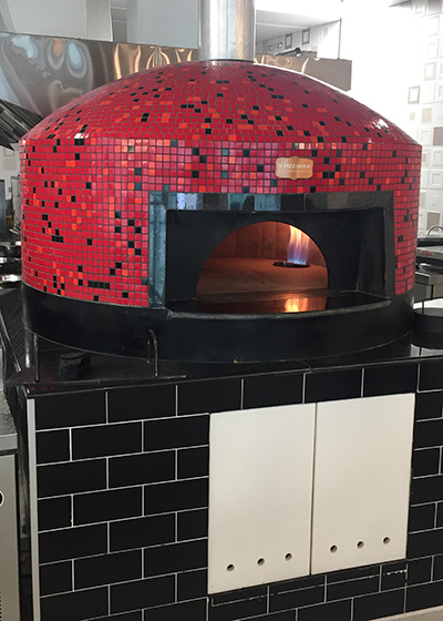 red pizza brick oven